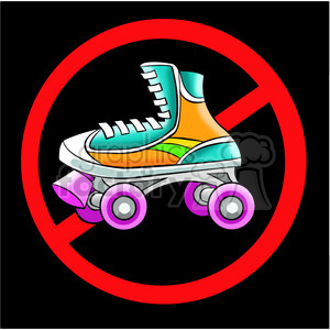 no roller skating sign clipart. Commercial use image # 394259