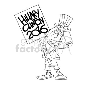 kid holding a hillary 2016 sign in black and white clipart. Commercial use image # 394275
