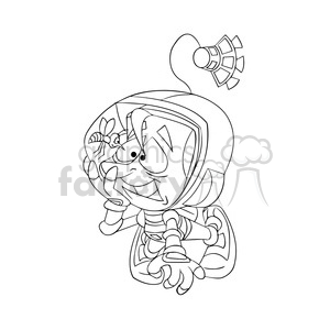 astronaut with bee stuck in his helmet outline clipart. Royalty-free image # 394285