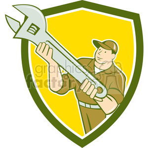 Mechanic presenting spanner SHIELD clipart. Commercial use image # 394345