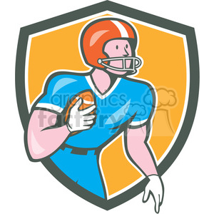 american football rusher run OL SHIELD clipart. Commercial use image # 394365