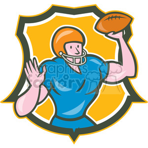 american football quarterback throwing OL SHIELD clipart. Royalty-free image # 394405