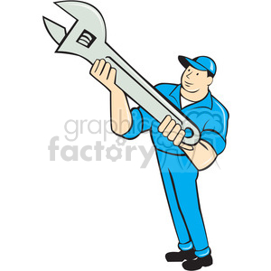 Mechanic presenting spanner clipart. Commercial use image # 394415