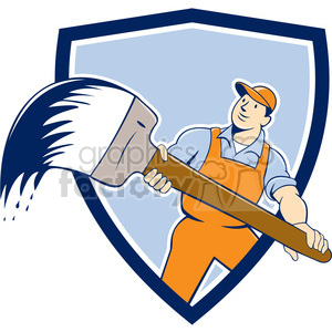 house painter giant paint brush front shield clipart. Royalty-free image # 394425
