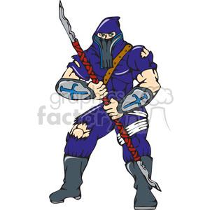 NINJA warrior spear frnt CARTOON clipart. Royalty-free image # 394435