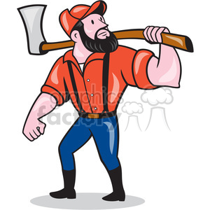 paul bunyan holding an axe clipart. Commercial use image # 394455