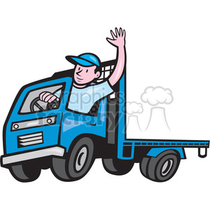 FLATBED TRUCK driver wave ISO clipart. Royalty-free image # 394475