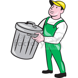 garbage collector rubbish bin ISO clipart. Royalty-free image # 394485