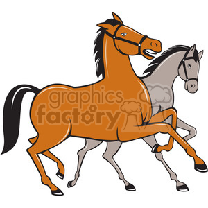 two horses prancing side clipart. Royalty-free image # 394505