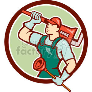 plumber wrench plunger looking up CIRC clipart. Royalty-free image # 394545