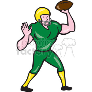american football quarterback throwing OL clipart. Royalty-free image # 394555