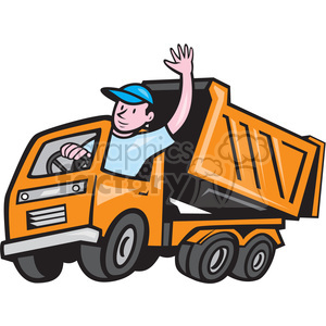 DUMP TRUCK driver wave ISO clipart. Commercial use image # 394575