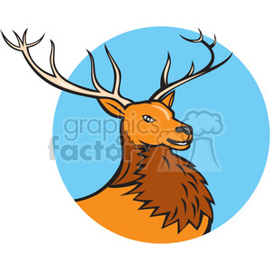 red deer HEAD SIDE CIRC clipart. Royalty-free image # 394585