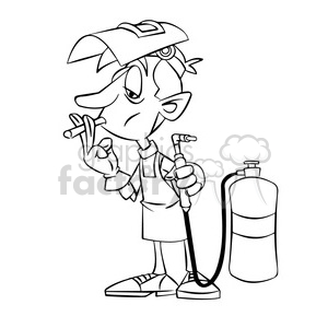 cartoon welder welding smoke smoking cigarette black+white