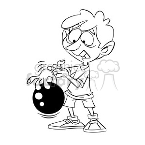 cartoon kid bowling with ball stuck on fingers black and white clipart. Royalty-free image # 394735