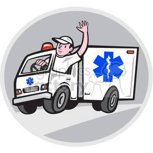 ambulance driver waving clipart. Commercial use image # 392336