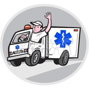 ambulance driver waving