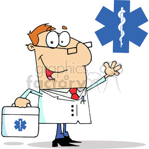 Doctor Man Carrying his First Aid Bag clipart. Royalty-free icon # 378566