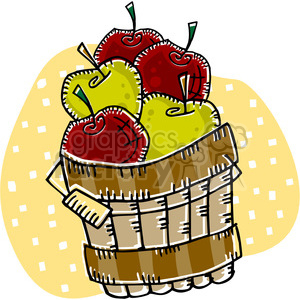 red and green apples in a barell clipart. Commercial use image # 145440