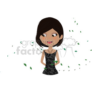 Girl with Leaves cartoon character vector image clipart. Commercial use image # 394878