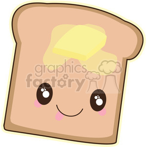 cartoon cute character bread butter food slice buttered