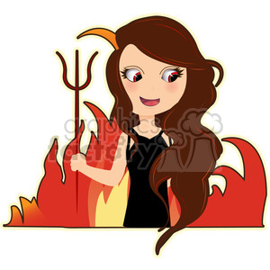 female Devil cartoon character vector image clipart. Commercial use image # 394928