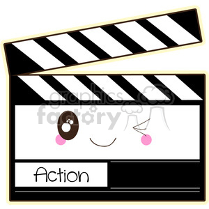 Film Clapper cartoon character vector image clipart. Royalty-free image # 394938