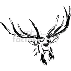 black and white Elk antlers clipart. Commercial use image # 394993