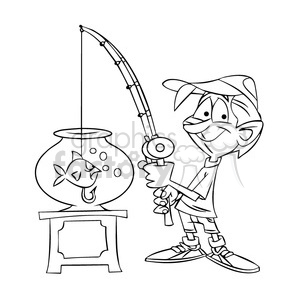 guy fishing in a fish bowl black and white clipart. Commercial use image # 395201