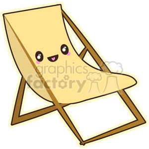 Beach lounge chair cartoon character vector clip art image clipart. Commercial use image # 395240