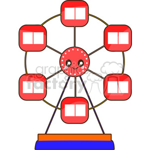 Ferris Wheel cartoon character vector clip art image clipart. Commercial use image # 395260