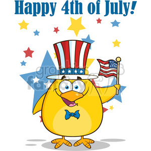 Royalty Free RF Clipart Illustration Patriotic Yellow Chick Cartoon Character Waving An American Flag On Independence Day Vector Illustration Isolated On White With Text