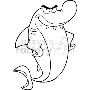 Royalty Free RF Clipart Illustration Black And White Angry Shark Cartoon Character clipart. Royalty-free image # 395292