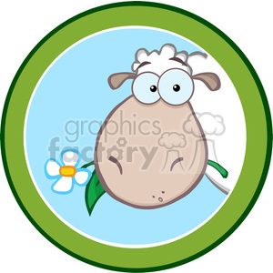 Royalty Free RF Clipart Illustration Cartoon Green Circle Label With Sheep clipart. Commercial use image # 395302