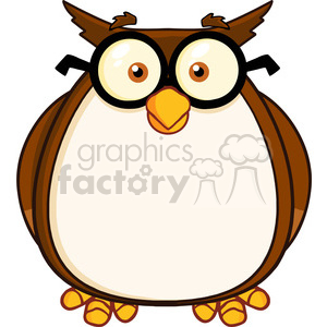 Royalty Free RF Clipart Illustration Wise Owl Teacher Cartoon Character With Glasses clipart. Royalty-free image # 395312