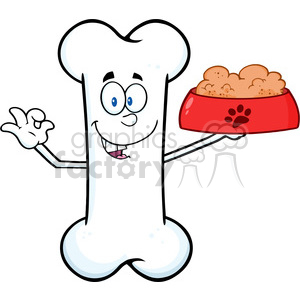 Royalty Free RF Clipart Illustration Happy Bone Cartoon Mascot Character Holding A Dog Food In Red Bowl Dish clipart. Commercial use image # 395322