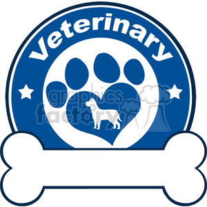 Illustration Veterinary Blue Circle Label Design With Love Paw Dog And Bone Under Text clipart. Commercial use image # 395332