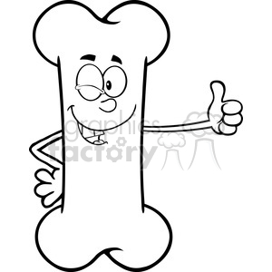 Royalty Free RF Clipart Illustration Black And White Winking Bone Cartoon Mascot Character Giving A Thumb Up clipart. Royalty-free image # 395342