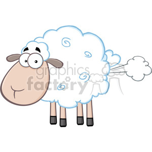 Royalty Free RF Clipart Illustration Cute White Sheep Cartoon Mascot Character With Fart Cloud clipart. Royalty-free image # 395352