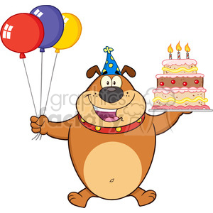 Royalty Free RF Clipart Illustration Birthday Brown Bulldog Cartoon Mascot Character Holding Up A Birthday Cake With Candles clipart. Commercial use image # 395362