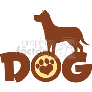 Illustration Dog Brown Silhouette Over Text With Love Paw Print Vector Illustration Isolated On White Background