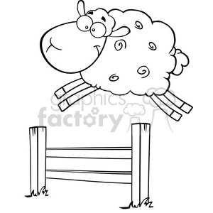 Royalty Free RF Clipart Illustration Black And White Funny White Sheep Jumping Over The Fence clipart. Royalty-free image # 395392
