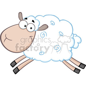Royalty Free RF Clipart Illustration White Sheep Cartoon Mascot Character Jumping clipart. Royalty-free image # 395402