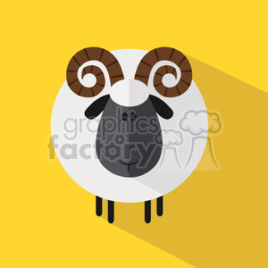 8239 Royalty Free RF Clipart Illustration Cute Ram Sheep Modern Flat Design Vector Illustration clipart. Royalty-free image # 395452
