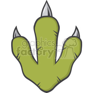 8853 Royalty Free RF Clipart Illustration Dinosaur Paw With Claws Vector Illustration Isolated On White Background