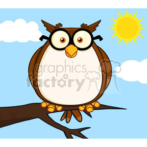 Royalty Free RF Clipart Illustration Wise Owl On Tree Cartoon Character clipart. Royalty-free image # 395472