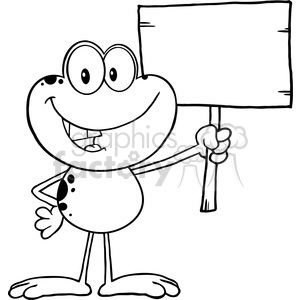 Royalty Free RF Clipart Illustration Black And White Cute Frog Cartoon Mascot Character Holding Up A Wood Sign clipart. Royalty-free image # 395482