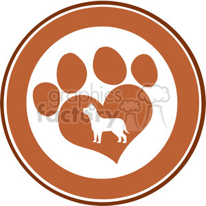 Royalty Free RF Clipart Illustration Love Paw Print Brown Circle Banner Design With Dog Silhouette clipart. Commercial use image # 395492