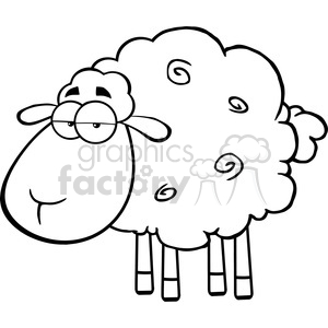 Royalty Free RF Clipart Illustration Black And White Cute Sheep Cartoon Mascot Character clipart. Royalty-free image # 395502