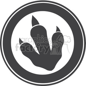 8769 Royalty Free RF Clipart Illustration Dinosaur Paw Print Circle Label Design Vector Illustration clipart. Royalty-free image # 395512